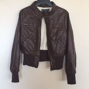 Chocolate brown fake leather bomber jacket